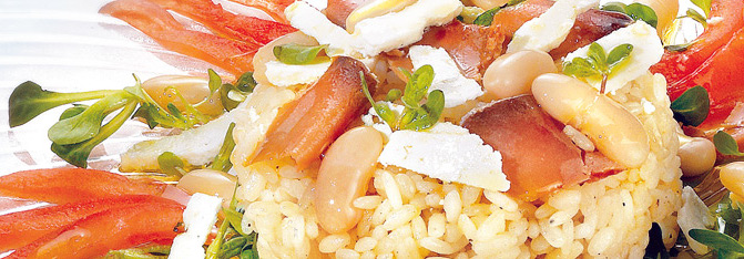 Insalata di riso, bottarga e ricotta salata