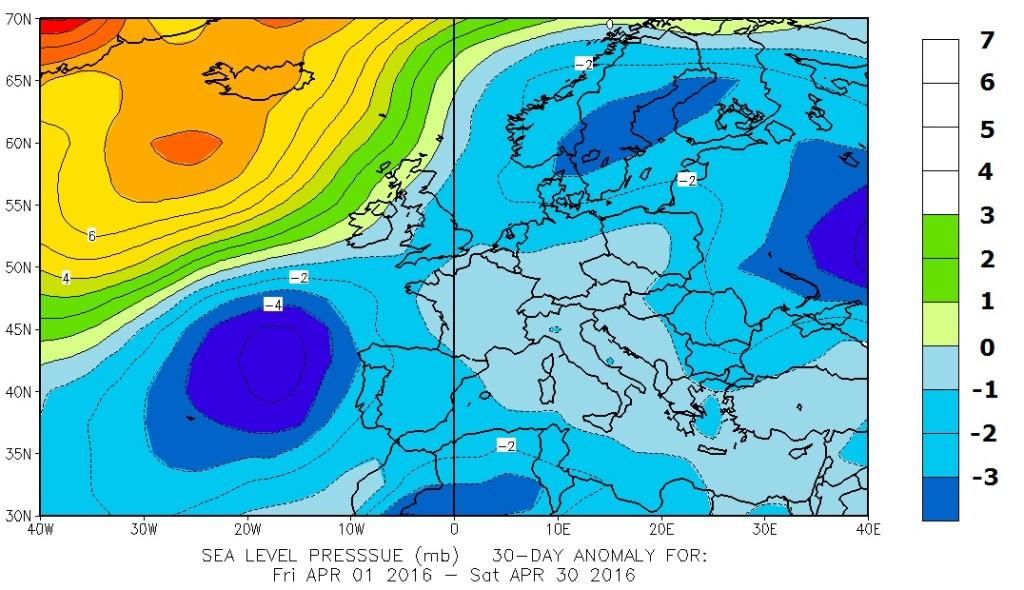 Figura 1 - SLP anomaly april 2016-2