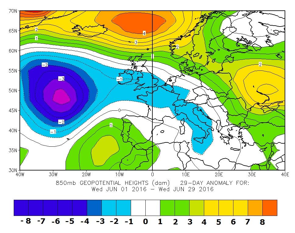 Figura 1 - 850 hPa anomalia giugno 2016