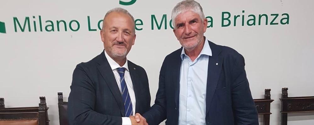 Cattaneo, a sinistra, con Antonio Boselli